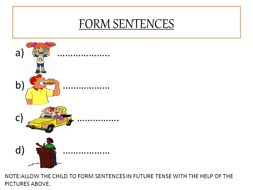 a) ……………….. b) ……………… c) ……………. d) ……………… FORM SENTENCES NOTE:ALLOW THE CHILD TO FORM SENTENCES IN FUTURE TENSE WITH THE HELP OF THE PICTURES ABOVE.