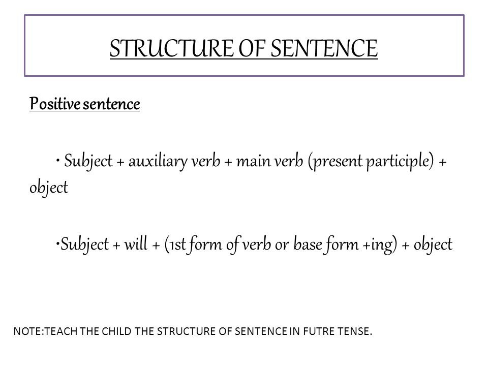 STRUCTURE OF SENTENCE Positive sentence Subject + auxiliary verb + main verb (present participle) + object Subject + will + (1st form of verb or base