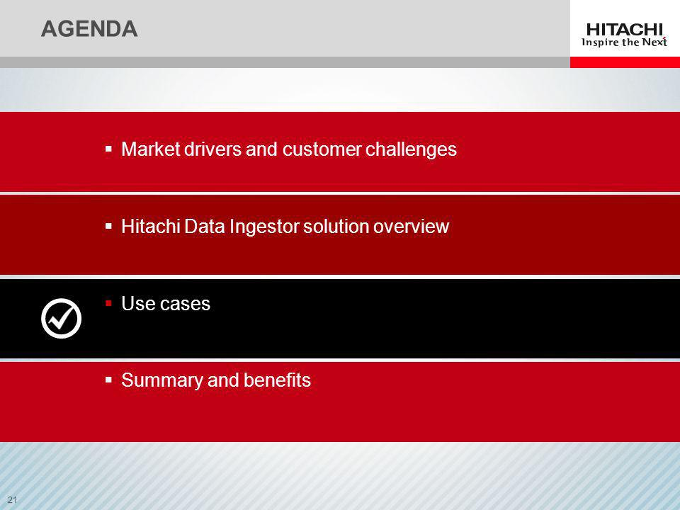 21 AGENDA Market drivers and customer challenges Hitachi Data Ingestor solution overview Use cases Summary and benefits