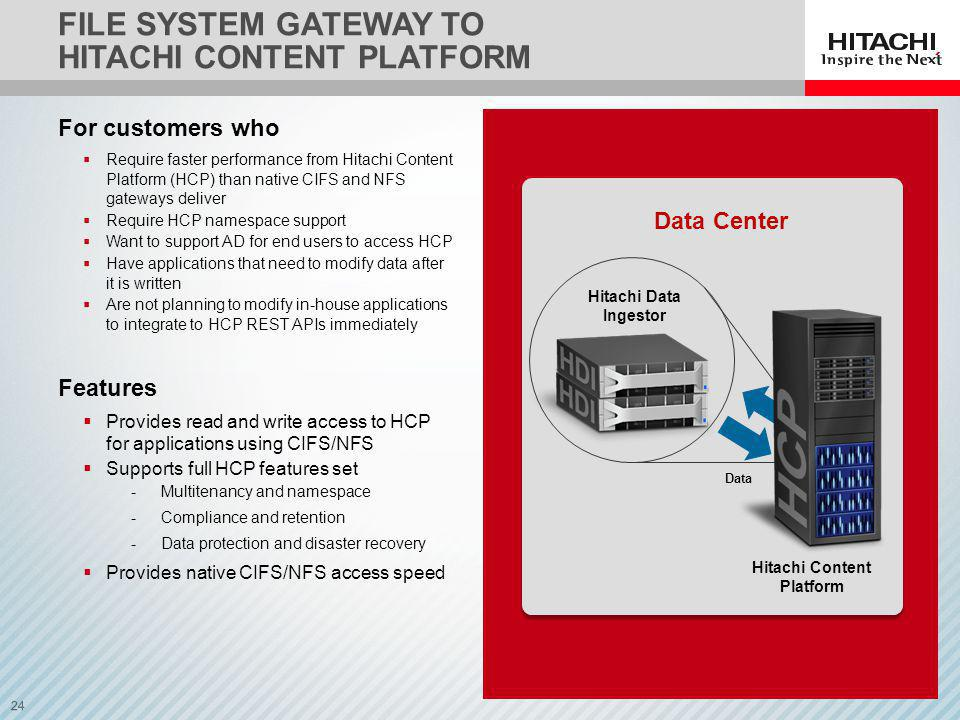 24 FILE SYSTEM GATEWAY TO HITACHI CONTENT PLATFORM For customers who Require faster performance from Hitachi Content Platform (HCP) than native CIFS and NFS gateways deliver Require HCP namespace support Want to support AD for end users to access HCP Have applications that need to modify data after it is written Are not planning to modify in-house applications to integrate to HCP REST APIs immediately Features Provides read and write access to HCP for applications using CIFS/NFS Supports full HCP features set -Multitenancy and namespace -Compliance and retention -Data protection and disaster recovery Provides native CIFS/NFS access speed Data Hitachi Data Ingestor Hitachi Content Platform Data Center