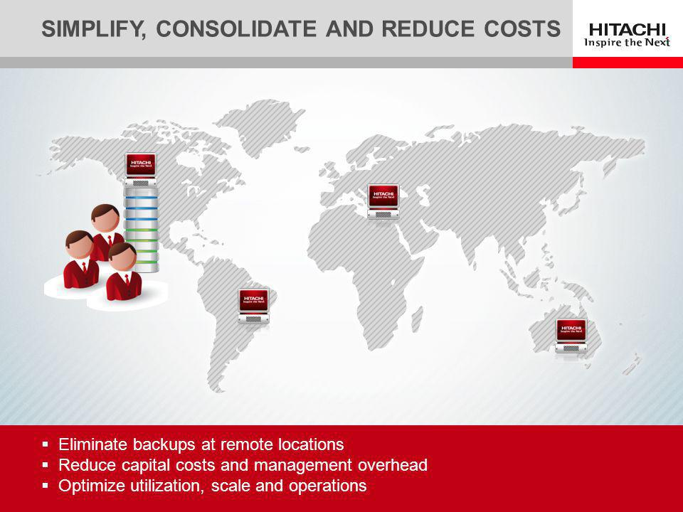 5 Eliminate backups at remote locations Reduce capital costs and management overhead Optimize utilization, scale and operations SIMPLIFY, CONSOLIDATE