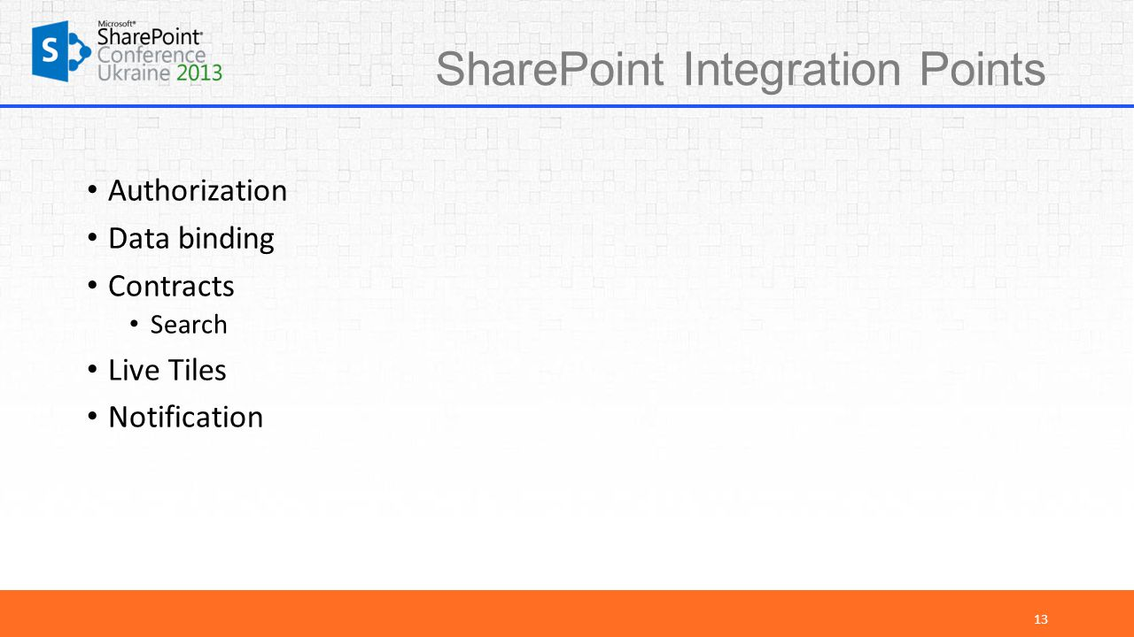 SharePoint Integration Points Authorization Data binding Contracts Search Live Tiles Notification 13