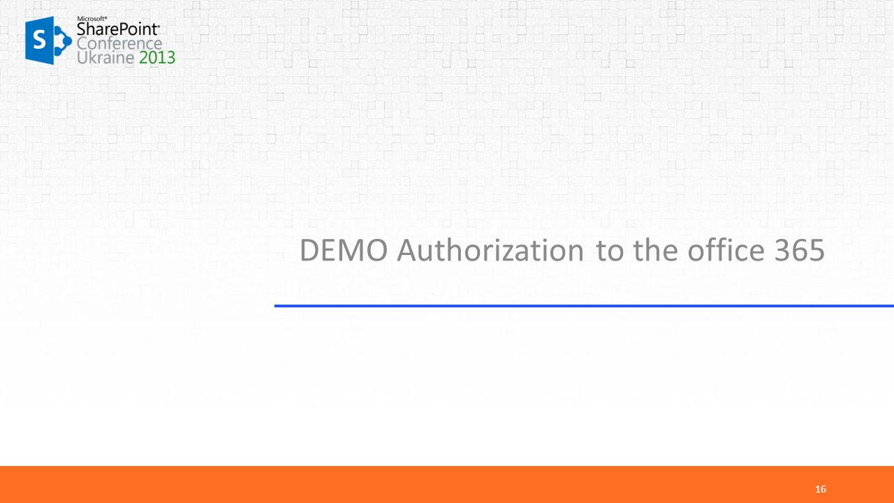 DEMO Authorization to the office 365 16