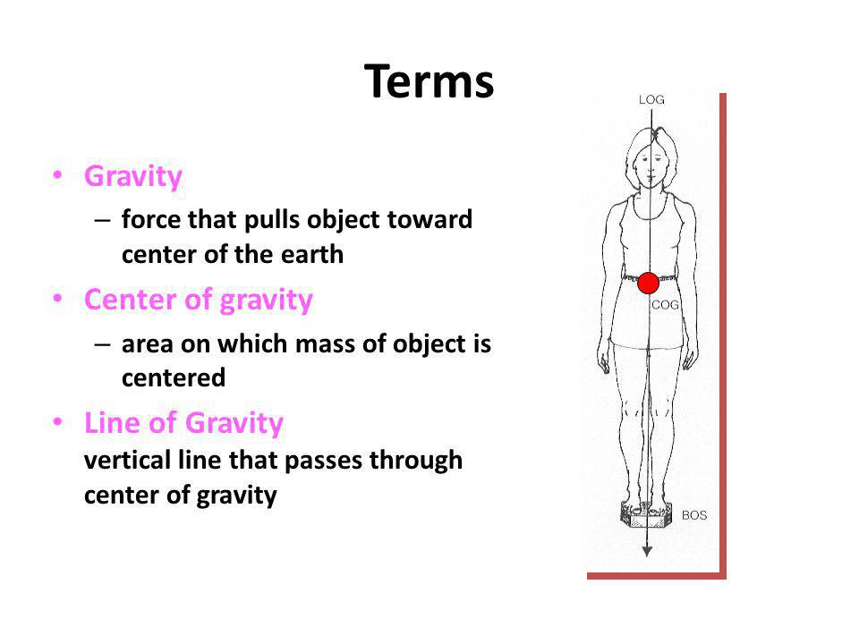 Terms Gravity – force that pulls object toward center of the earth Center of gravity – area on which mass of object is centered Line of Gravity vertic