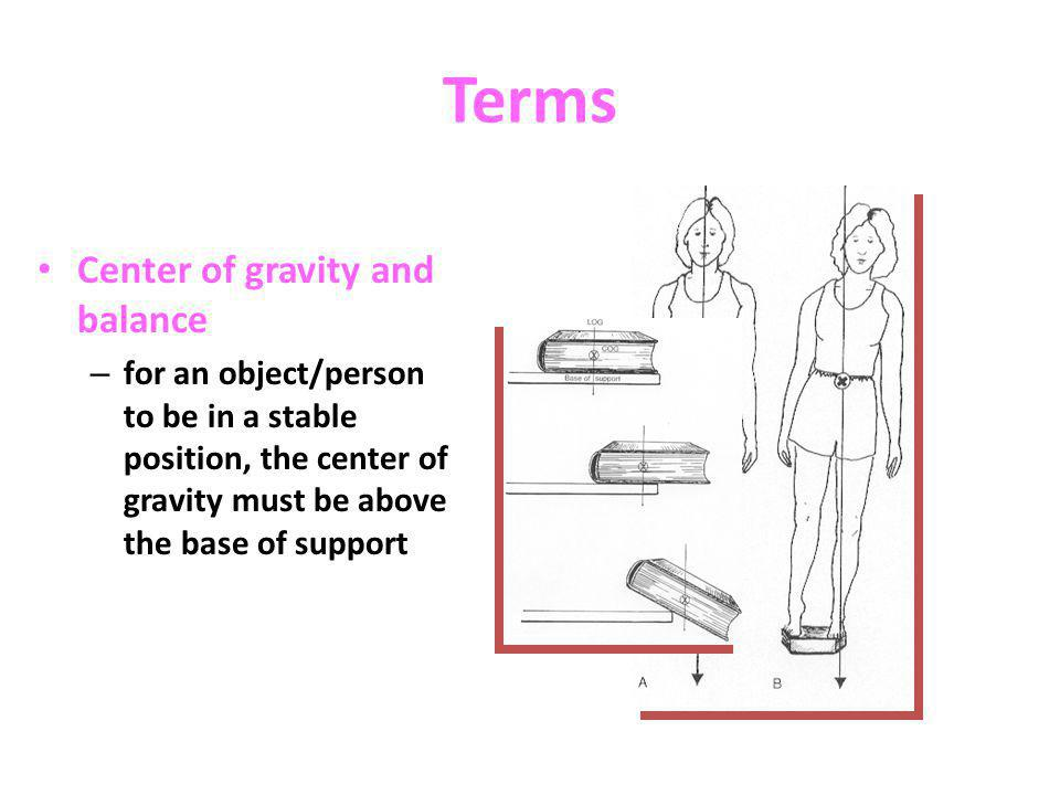 Terms Center of gravity and balance – for an object/person to be in a stable position, the center of gravity must be above the base of support