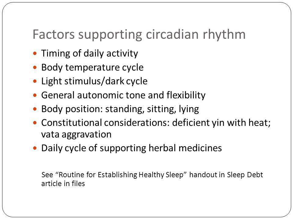 Factors supporting circadian rhythm Timing of daily activity Body temperature cycle Light stimulus/dark cycle General autonomic tone and flexibility Body position: standing, sitting, lying Constitutional considerations: deficient yin with heat; vata aggravation Daily cycle of supporting herbal medicines See Routine for Establishing Healthy Sleep handout in Sleep Debt article in files