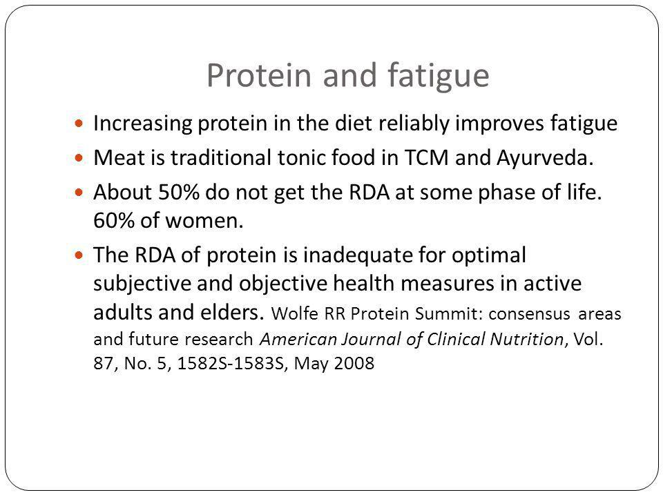 Protein and fatigue Increasing protein in the diet reliably improves fatigue Meat is traditional tonic food in TCM and Ayurveda.