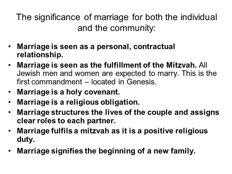 The significance of marriage for both the individual and the community: Marriage is seen as a personal, contractual relationship.