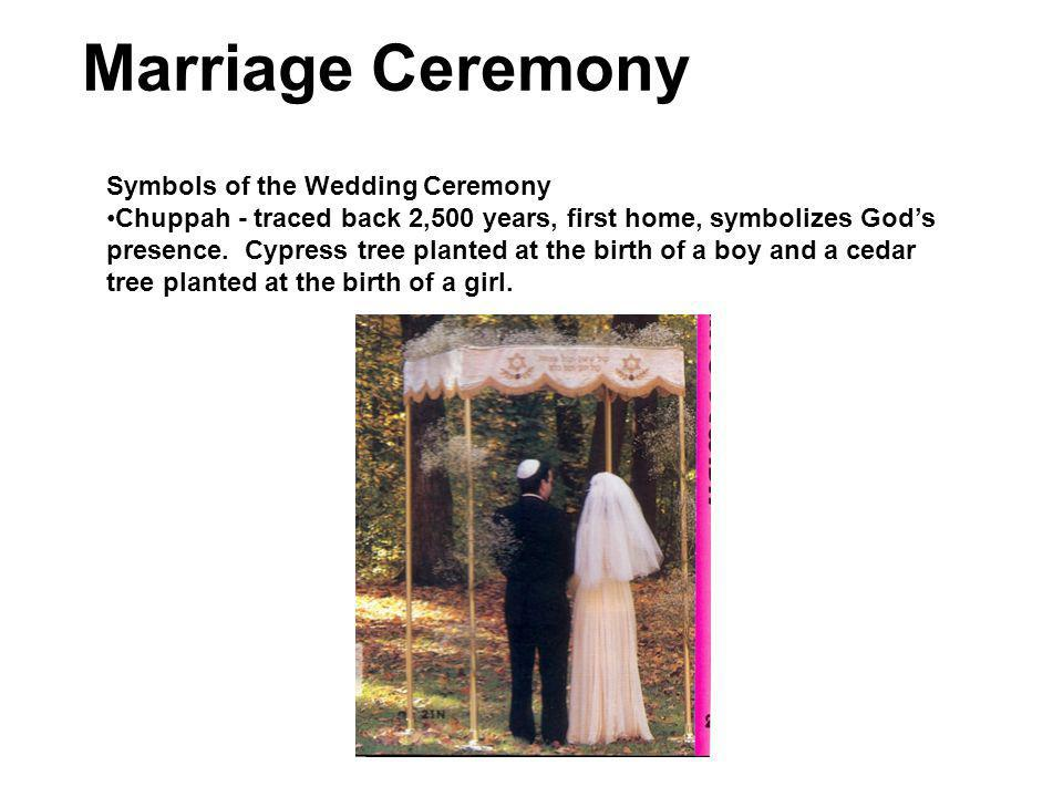 Marriage Ceremony Symbols of the Wedding Ceremony Chuppah - traced back 2,500 years, first home, symbolizes Gods presence.