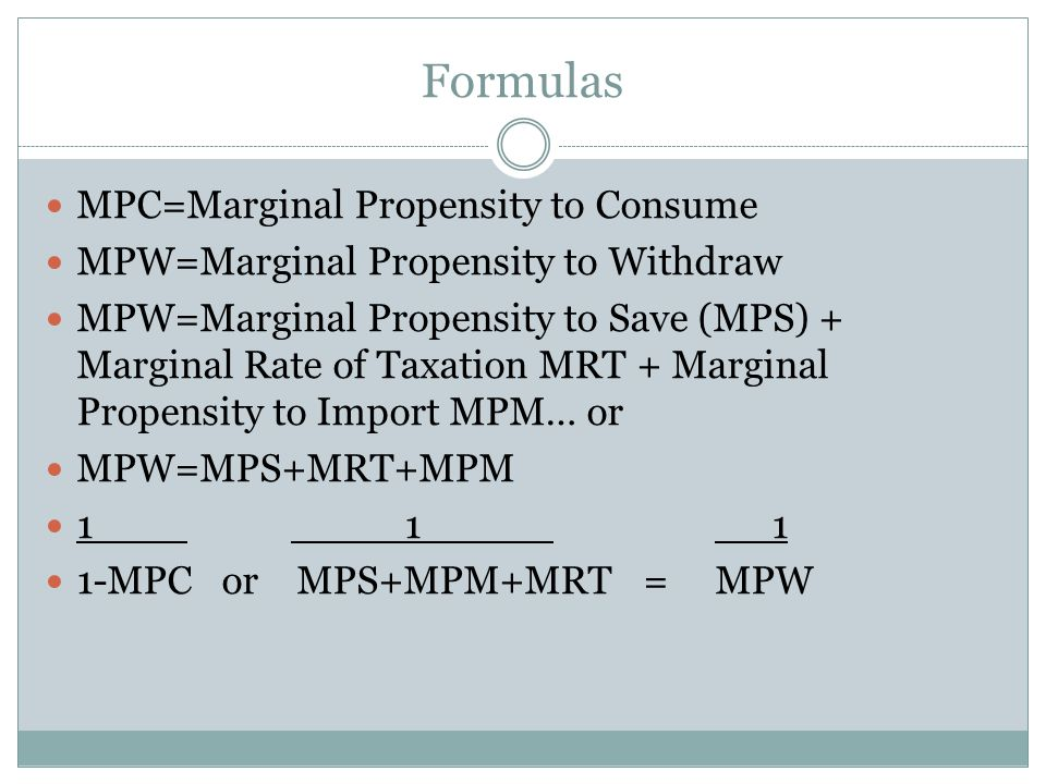 Formulas MPC=Marginal Propensity to Consume MPW=Marginal Propensity to Withdraw MPW=Marginal Propensity to Save (MPS) + Marginal Rate of Taxation MRT