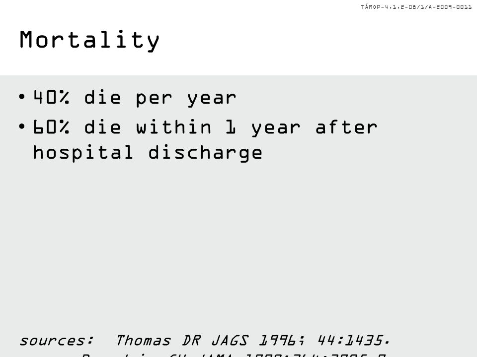 TÁMOP-4.1.2-08/1/A-2009-0011 Mortality 40% die per year 60% die within 1 year after hospital discharge sources:Thomas DR JAGS 1996; 44:1435.