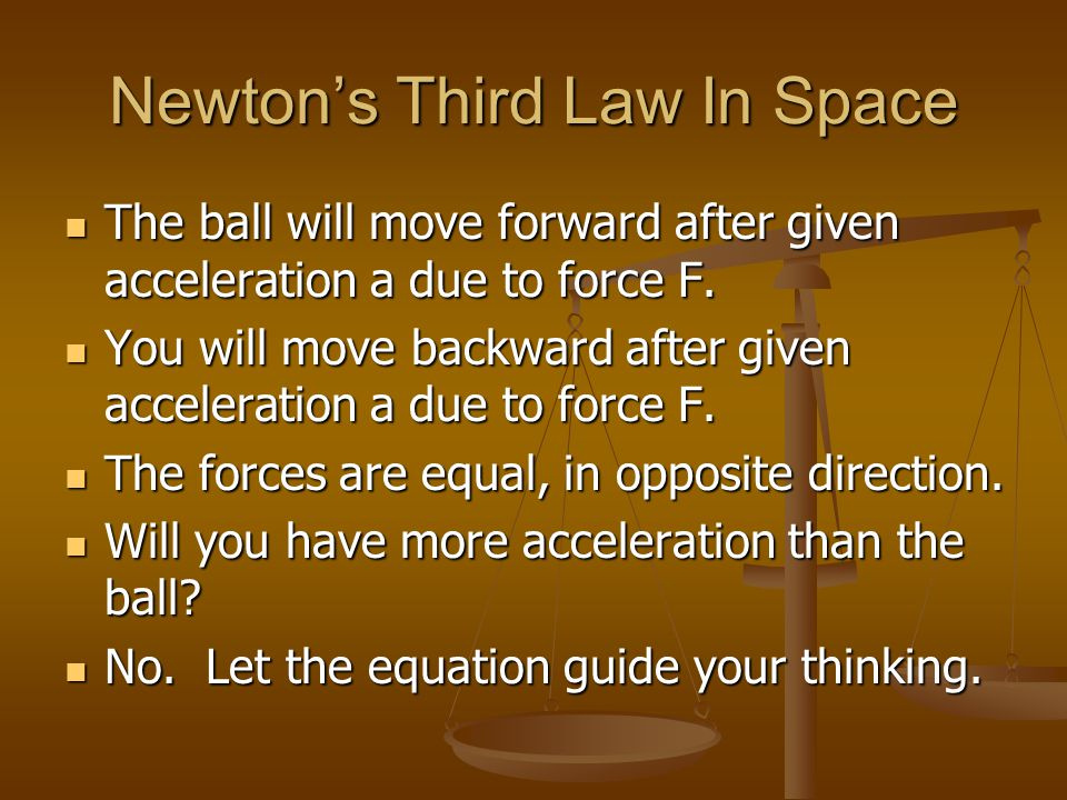 Newtons Third Law In Space The ball will move forward after given acceleration a due to force F. The ball will move forward after given acceleration a