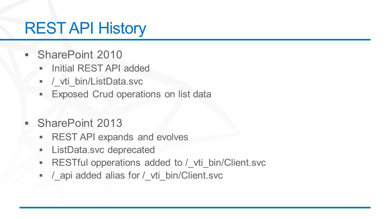 ©2012 Microsoft Corporation. All rights reserved. Content based on SharePoint 2013 Technical Preview and published July 2012. REST API History