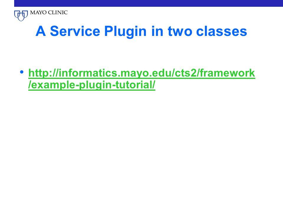 A Service Plugin in two classes http://informatics.mayo.edu/cts2/framework /example-plugin-tutorial/ http://informatics.mayo.edu/cts2/framework /example-plugin-tutorial/