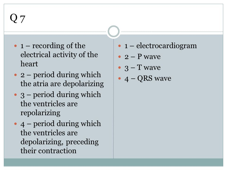Q 7 1 – recording of the electrical activity of the heart 2 – period during which the atria are depolarizing 3 – period during which the ventricles ar