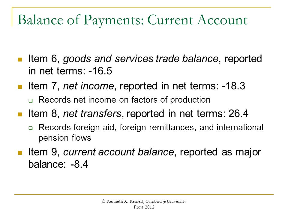 Balance of Payments: Current Account Item 6, goods and services trade balance, reported in net terms: -16.5 Item 7, net income, reported in net terms: