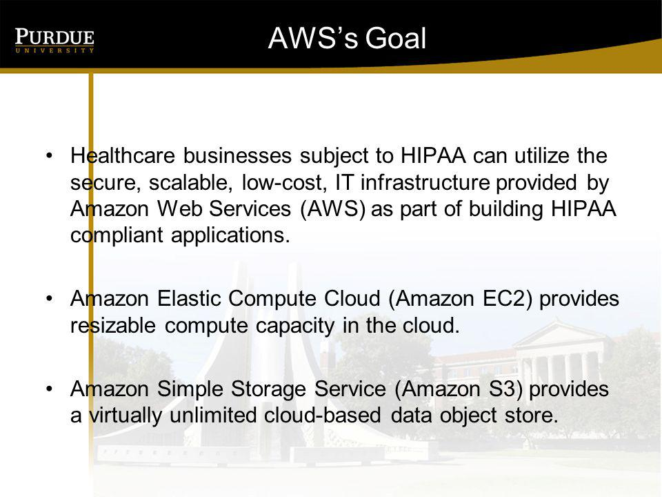 AWSs Goal Healthcare businesses subject to HIPAA can utilize the secure, scalable, low-cost, IT infrastructure provided by Amazon Web Services (AWS) a