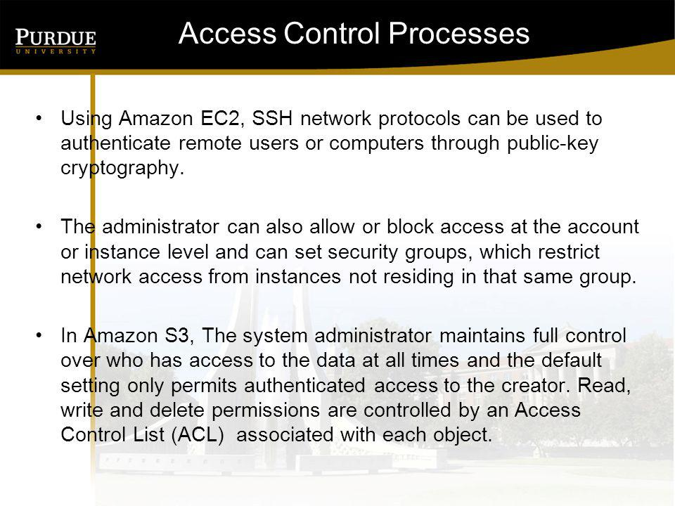 Access Control Processes Using Amazon EC2, SSH network protocols can be used to authenticate remote users or computers through public-key cryptography.
