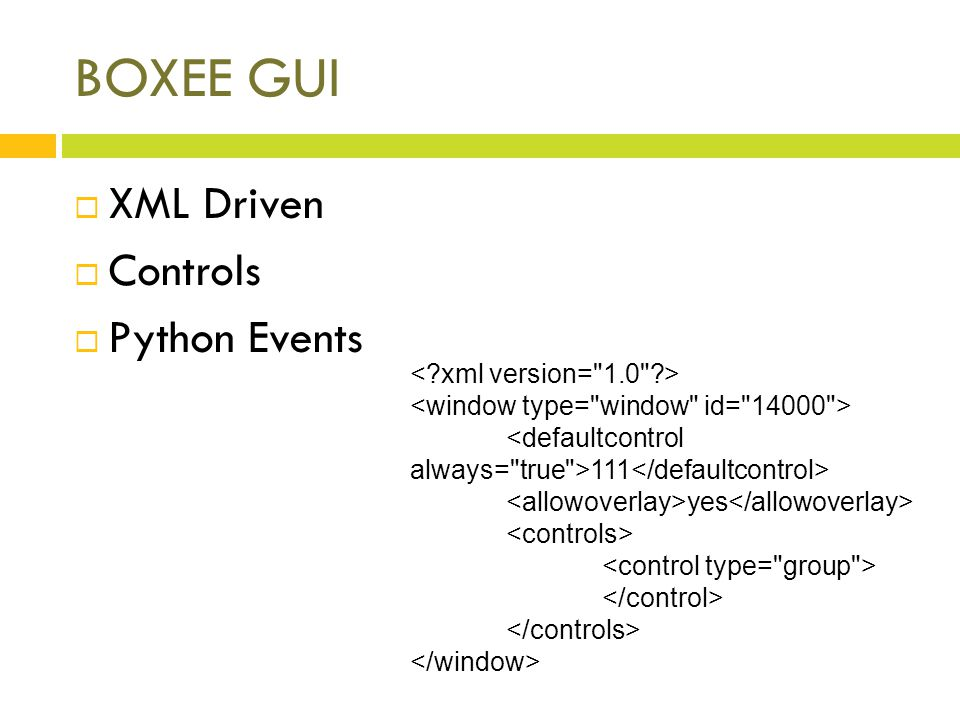 BOXEE GUI XML Driven Controls Python Events 111 yes