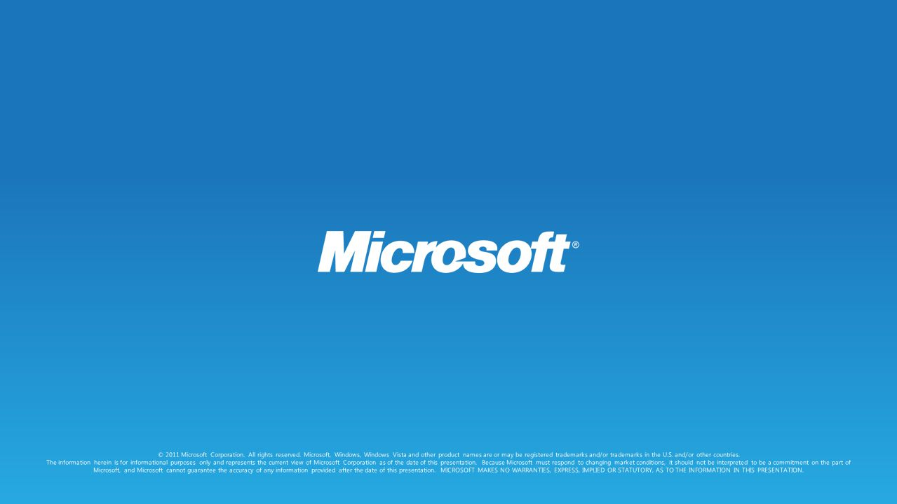 © 2011 Microsoft Corporation.All rights reserved.