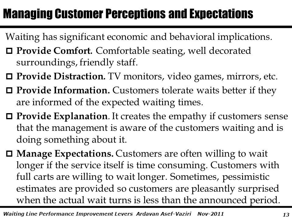 13 Ardavan Asef-Vaziri Nov-2011Waiting Line Performance Improvement Levers Waiting has significant economic and behavioral implications. Provide Comfo