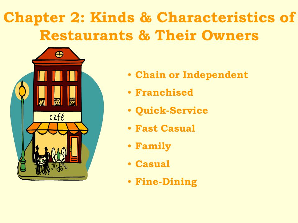 Chapter 2: Kinds & Characteristics of Restaurants & Their Owners Chain or Independent Franchised Quick-Service Fast Casual Family Casual Fine-Dining