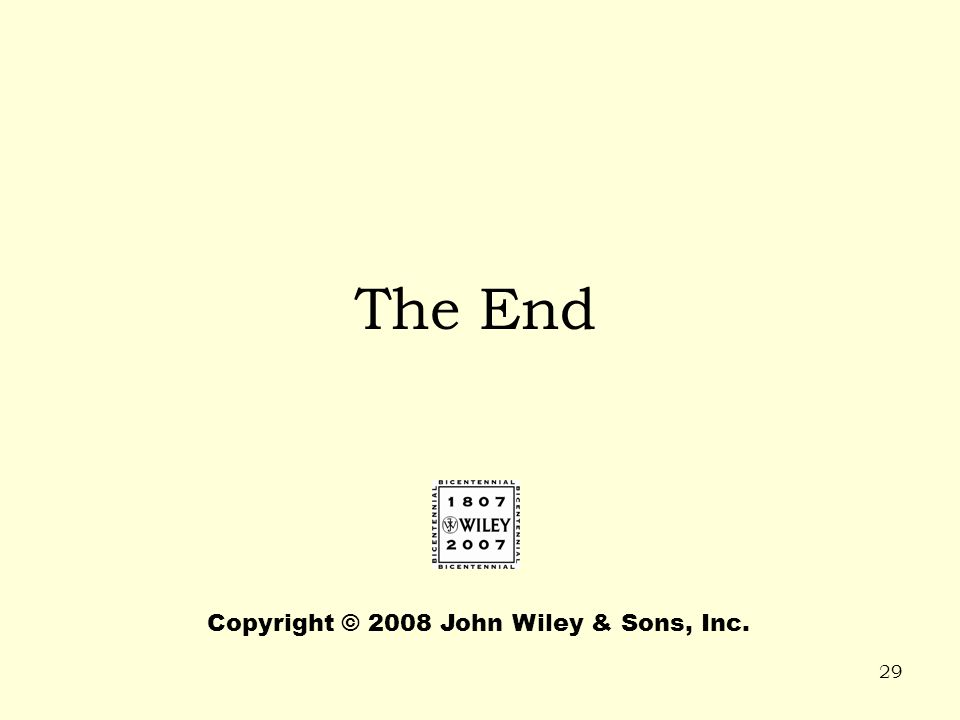 29 The End Copyright © 2008 John Wiley & Sons, Inc.