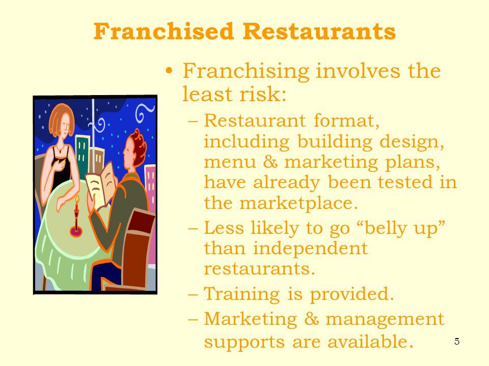 5 Franchised Restaurants Franchising involves the least risk: –Restaurant format, including building design, menu & marketing plans, have already been