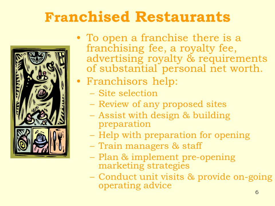 6 Fra nchised Restaurants To open a franchise there is a franchising fee, a royalty fee, advertising royalty & requirements of substantial personal ne