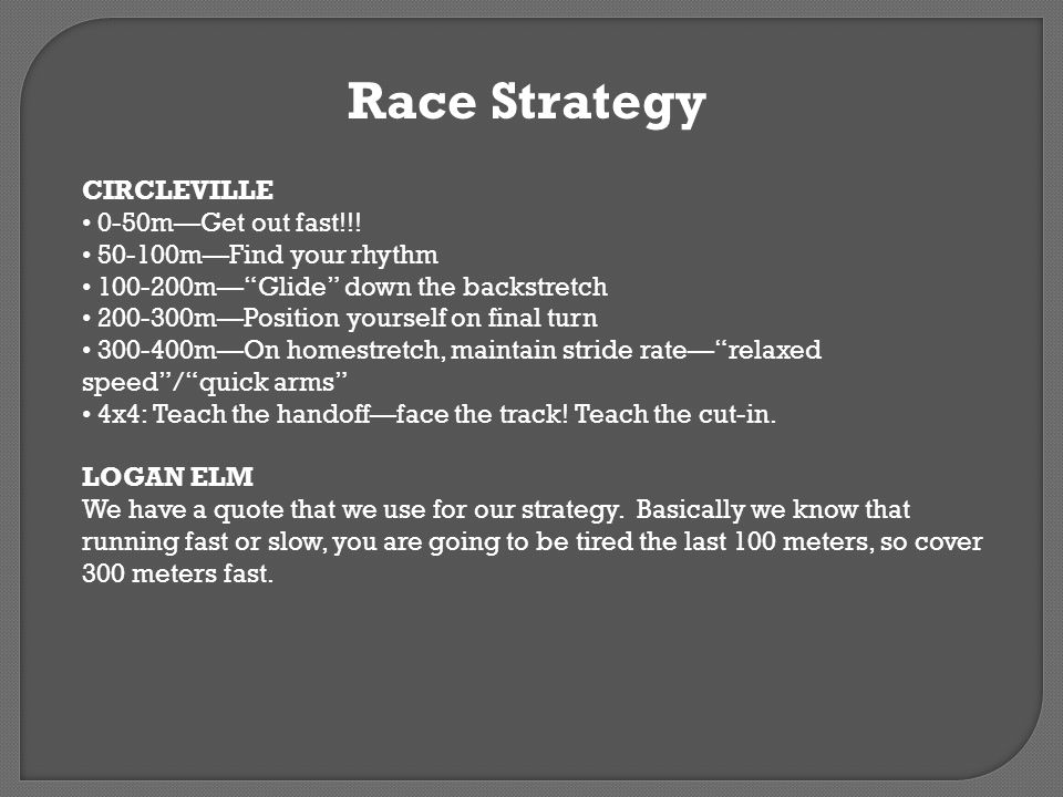Race Strategy CIRCLEVILLE 0-50mGet out fast!!! 50-100mFind your rhythm 100-200mGlide down the backstretch 200-300mPosition yourself on final turn 300-