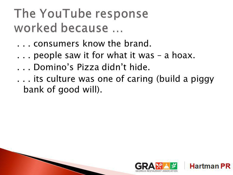 ... consumers know the brand.... people saw it for what it was – a hoax....