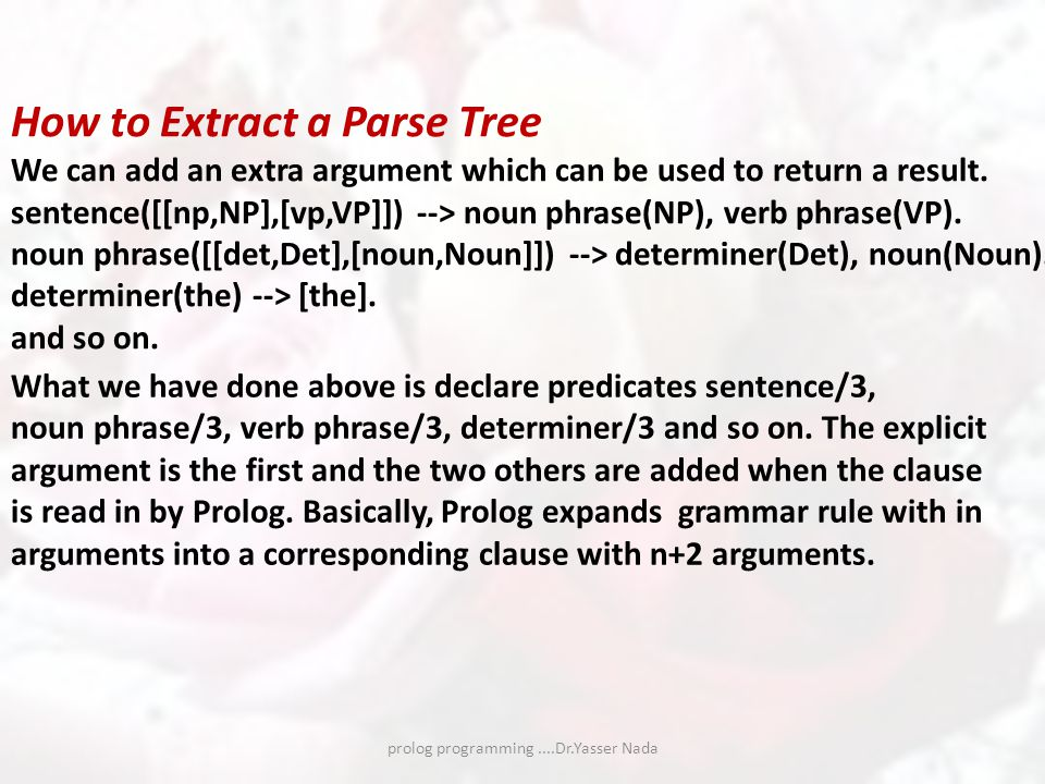 prolog programming....Dr.Yasser Nada How to Extract a Parse Tree We can add an extra argument which can be used to return a result.