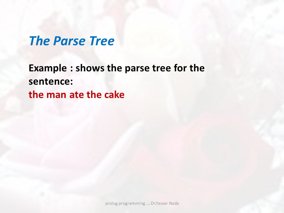 prolog programming....Dr.Yasser Nada The Parse Tree Example : shows the parse tree for the sentence: the man ate the cake