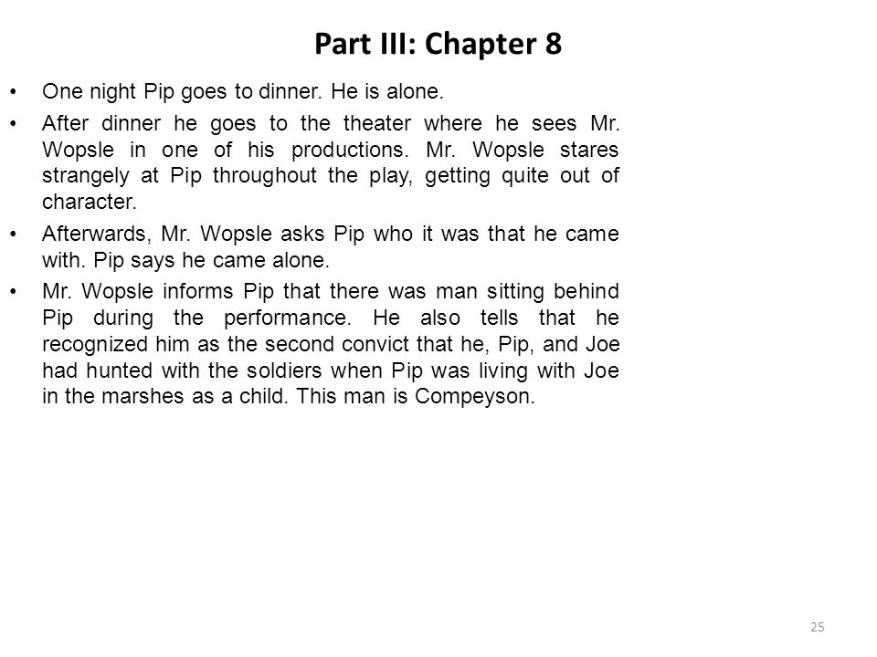 Part III: Chapter 8 One night Pip goes to dinner. He is alone. After dinner he goes to the theater where he sees Mr. Wopsle in one of his productions.