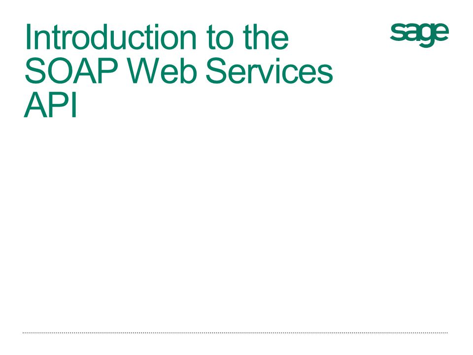 Introduction to the SOAP Web Services API