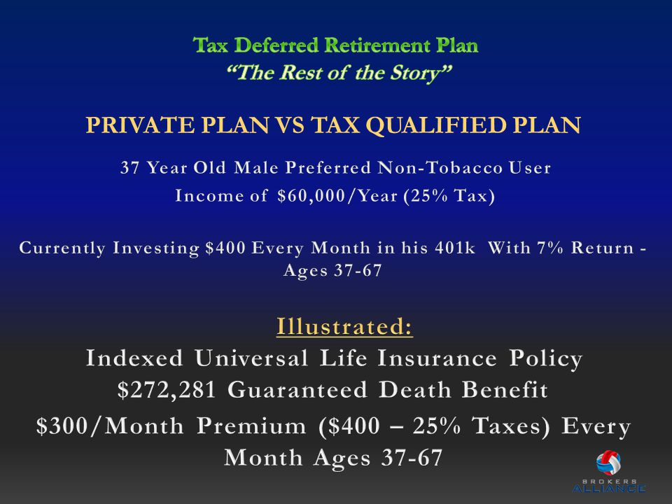 PRIVATE PLAN VS TAX QUALIFIED PLAN