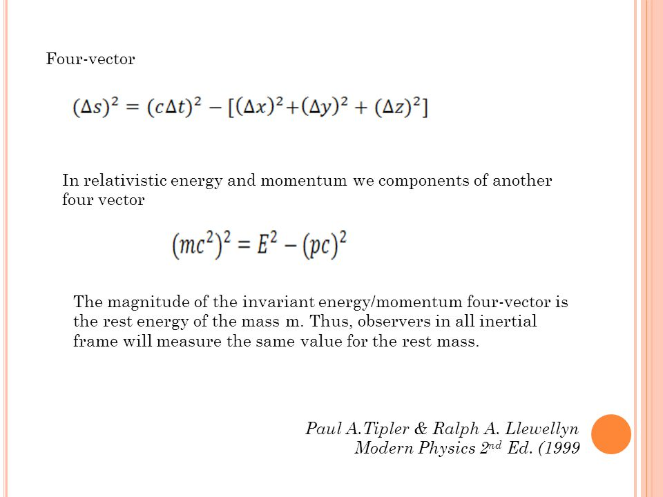 Four-vector In relativistic energy and momentum we components of another four vector The magnitude of the invariant energy/momentum four-vector is the rest energy of the mass m.