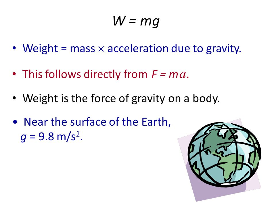 Slope F a Since slope = rise / run = F / a, the slope is equal to the mass. Or, think of y = m x + b, like in algebra class. y corresponds to force, m