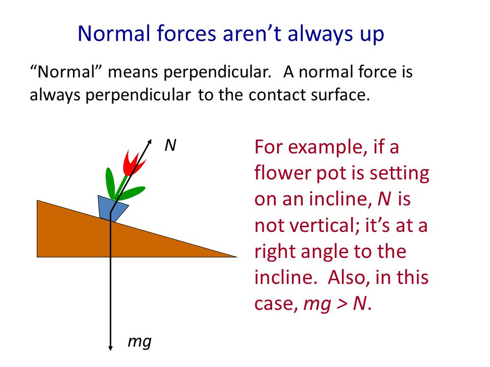 Normal force When an object lies on a table or on the ground, the table or ground must exert an upward force on it, otherwise gravity would accelerate