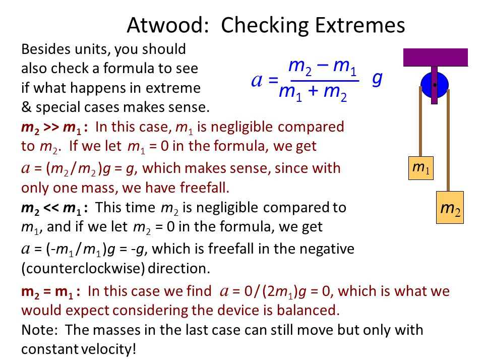 Atwood: Unit Check m 2 – m 1 m 1 + m 2 a = g kg - kg kg + kg m s 2 m = Whenever you derive a formula you should check to see if it gives the appropria
