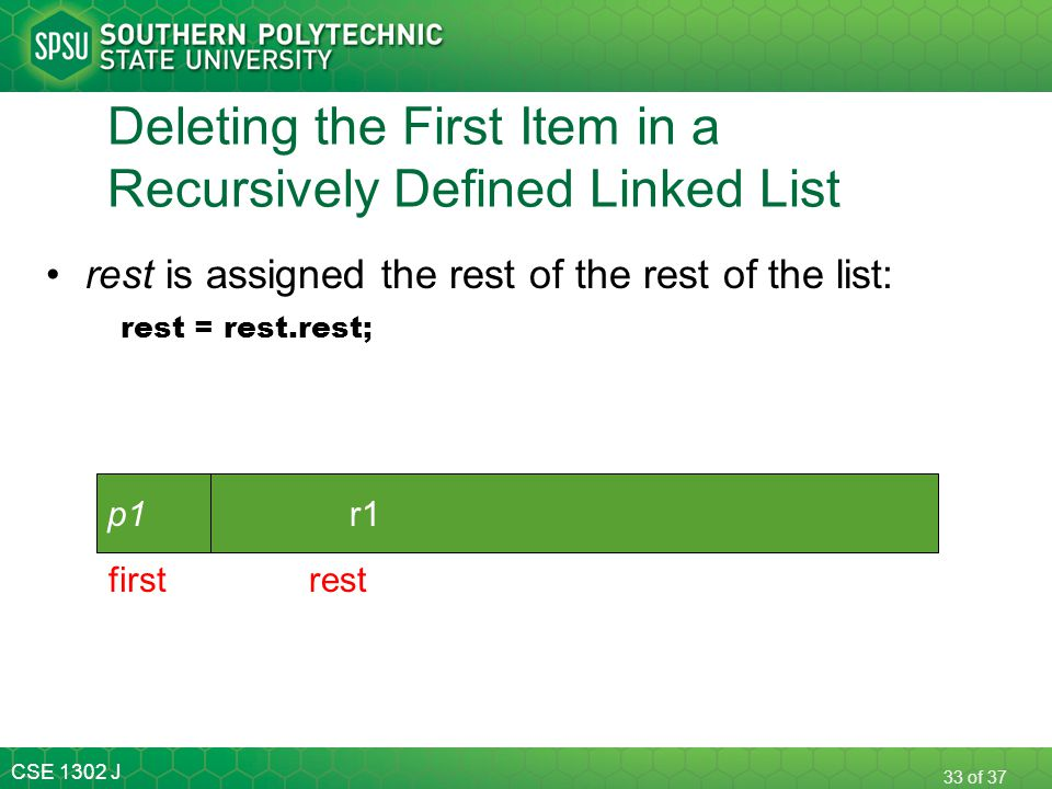 CSE 1302 J 33 of 37 Deleting the First Item in a Recursively Defined Linked List rest is assigned the rest of the rest of the list: rest = rest.rest;