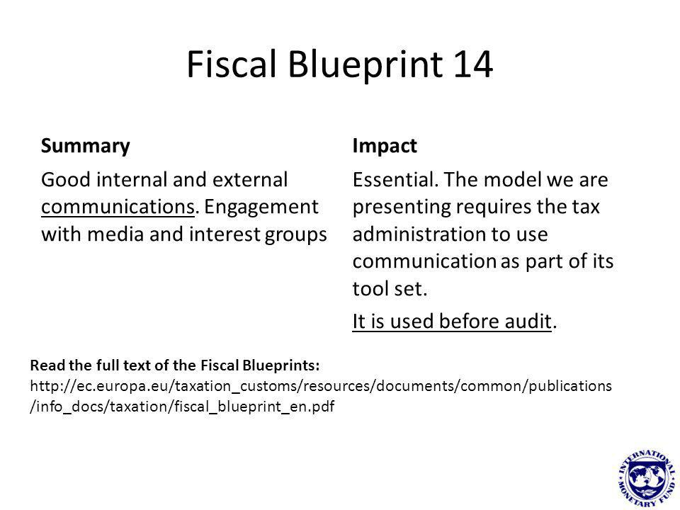 Fiscal Blueprint 14 Summary Good internal and external communications. Engagement with media and interest groups Impact Essential. The model we are pr