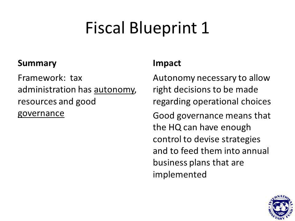 Fiscal Blueprint 2 Summary Structure and organisation good with a clear split between HQ and operational areas.