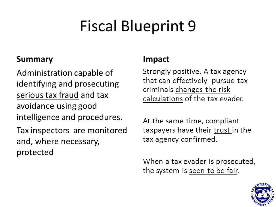 Fiscal Blueprint 10 Summary Voluntary compliance promoted and incentivised by agency.