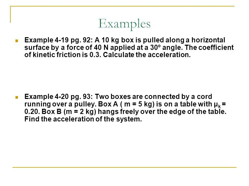 Example 4-19 pg. 92: A 10 kg box is pulled along a horizontal surface by a force of 40 N applied at a 30º angle. The coefficient of kinetic friction i