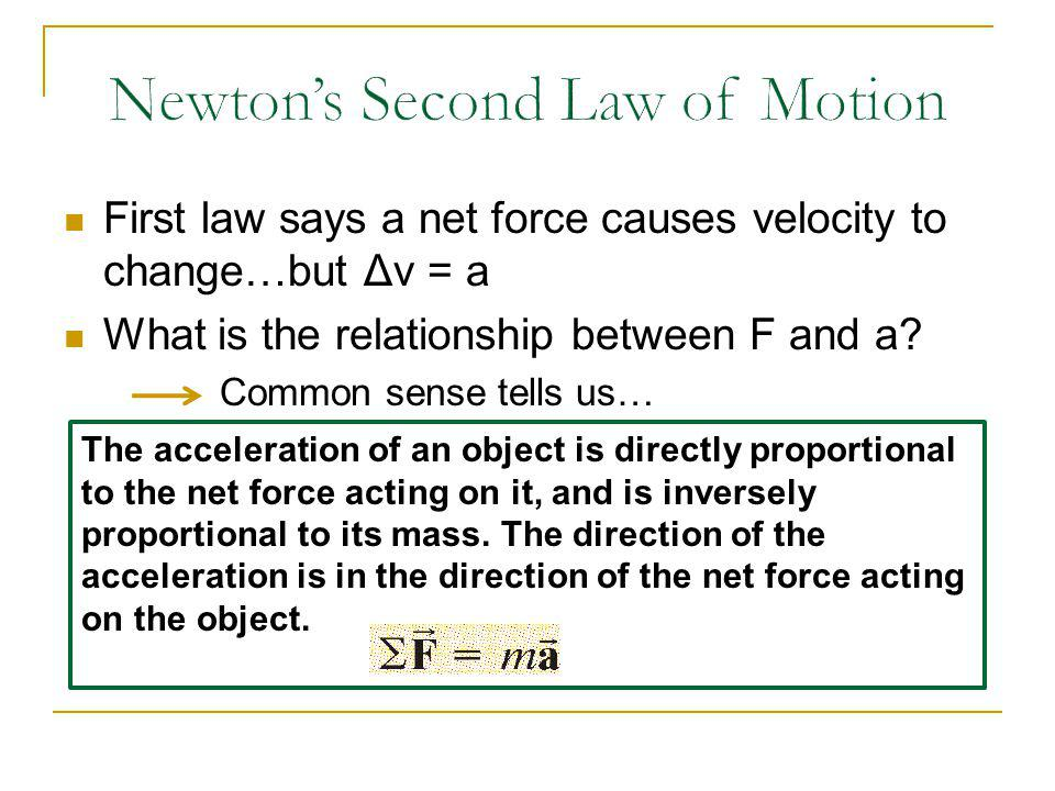 First law says a net force causes velocity to change…but Δv = a What is the relationship between F and a? Common sense tells us… The acceleration of a