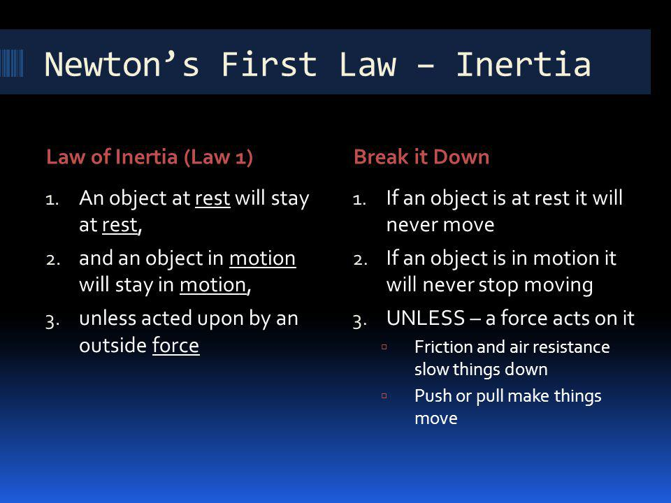 Newtons First Law – Inertia Law of Inertia (Law 1)Break it Down 1. An object at rest will stay at rest, 2. and an object in motion will stay in motion