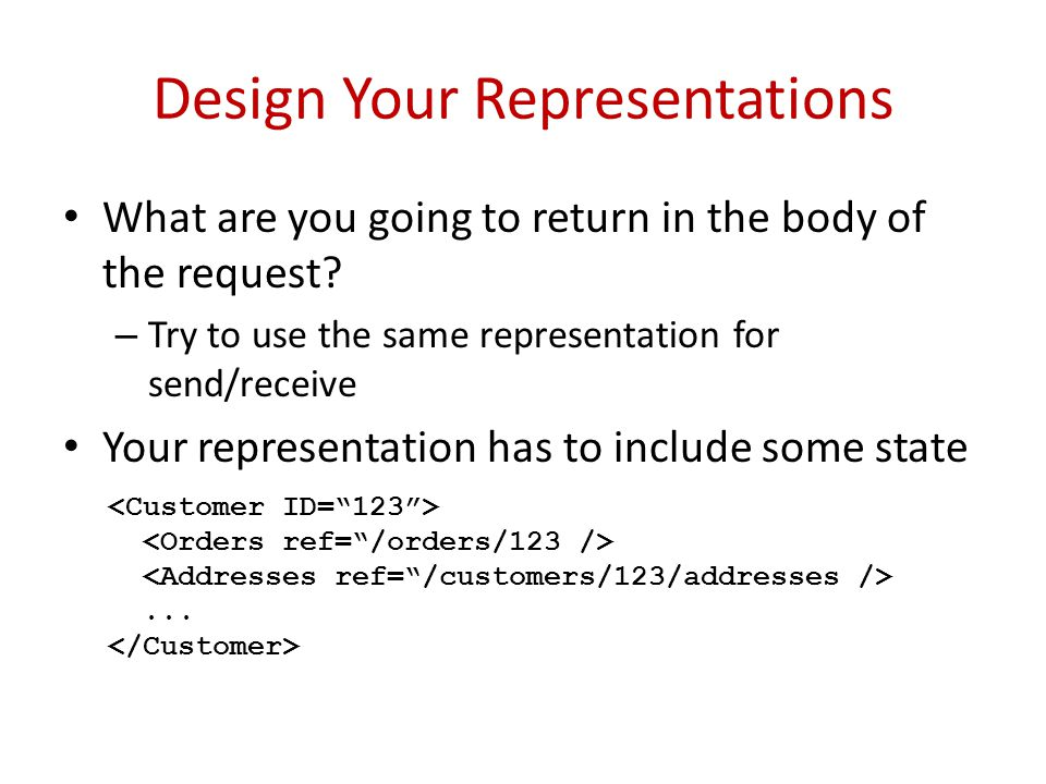 Design Your Representations What are you going to return in the body of the request.
