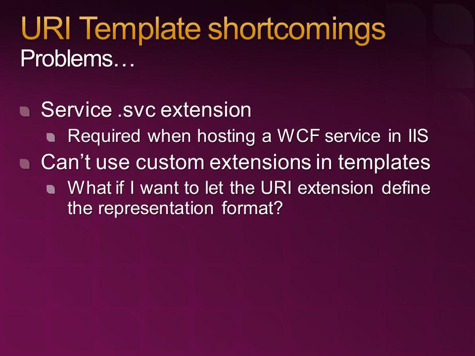 Service.svc extension Required when hosting a WCF service in IIS Cant use custom extensions in templates What if I want to let the URI extension defin