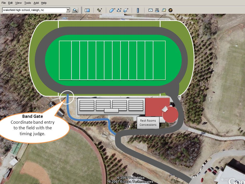 Rest Rooms Concessions Rest Rooms Concessions Band Gate Coordinate band entry to the field with the timing judge.